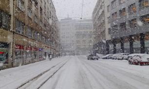 Centrum Bratislavy počas snehovej kalamity dňa 30.1.2015.
