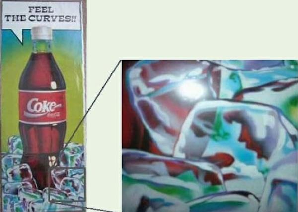 Na reklamnom plagáte môžeme vidieť v kocke ľadu siluetu ženy vykonávajúcu orálny sex