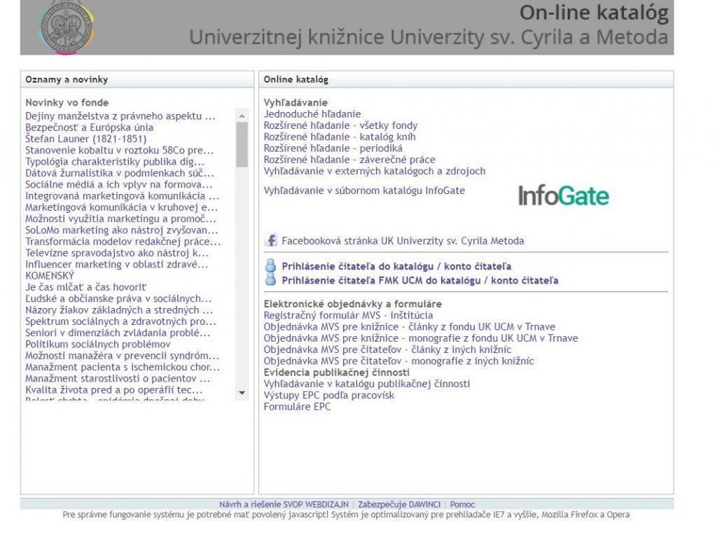 online katalog UCM