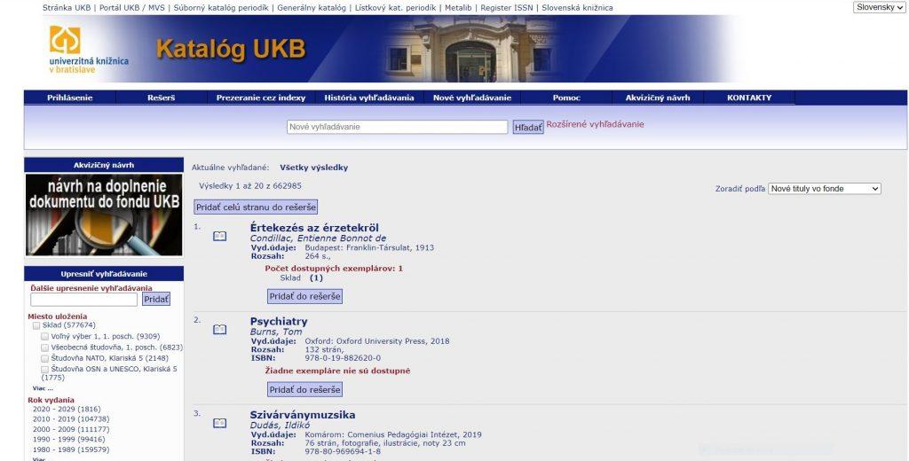 Katalog UKB online