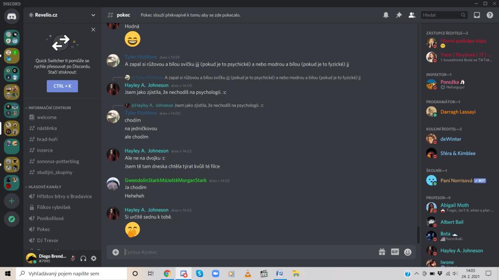 Ukážka chatu na Discord serveri hry Revelio.cz, kde môžu hráči kedykoľvek komunikovať. Zdroj: Discord server Revelio.cz