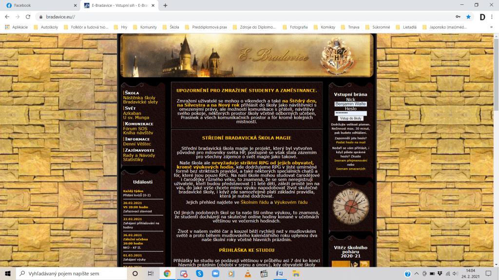 Aj táto hra má svoju úvodnú stránku s informáciami pre stálych i budúcich hráčov. Zdroj: bradavice.eu