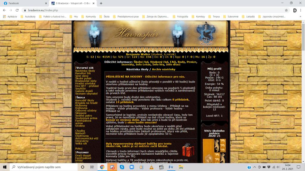Úvodná stránka po prihlásení sa do hry s informáciami pre hráčov. Zdroj: bradavice.eu