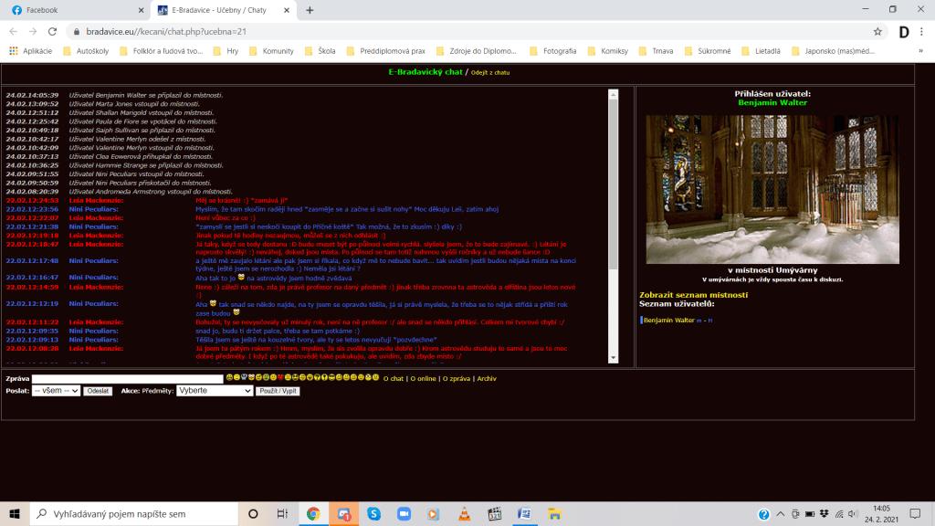 Ukážka chatu, kde hráči môžu byť aktívni mimo herného vyučovania. Oproti iným projektom môžeme vidieť kratšie príspevky. Zdroj: bradavice.eu