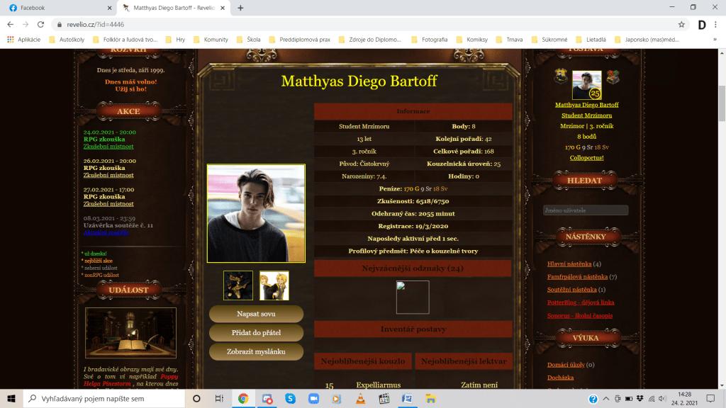 Ukážka profilu jedného z hráčov s úvodnými informáciami a vzhľadom, ktorý je zvyčajne vytvorený podľa reálnej osoby. Zdroj: Revelio.cz