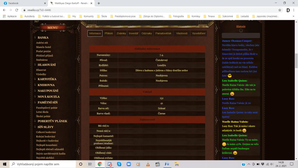 Bližšie informácie o postave, ktoré si iní hráči môžu prezrieť. Zdroj: Revelio.cz