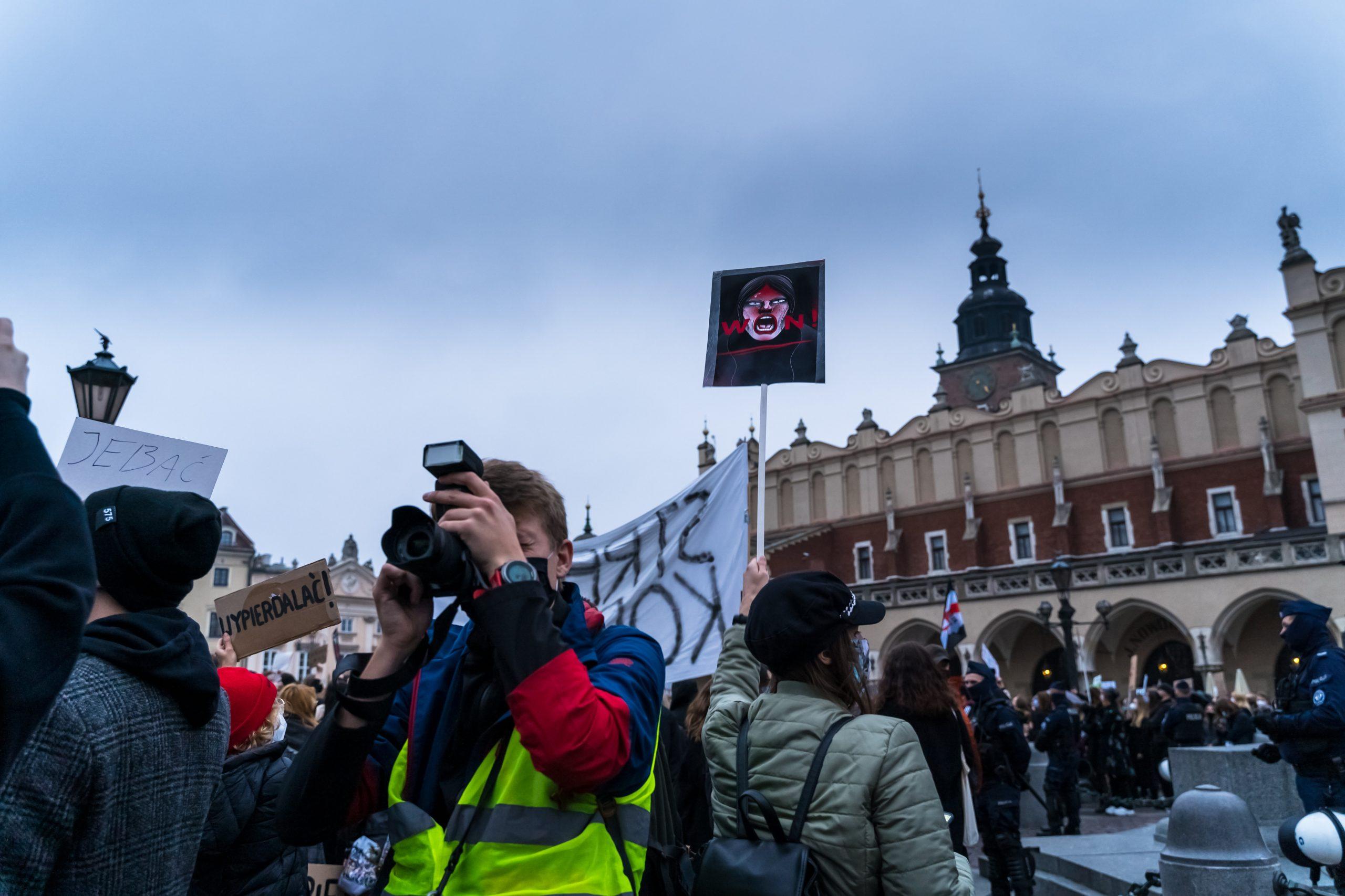 obyvatelia Poľska protestovali